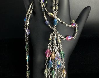FLASH SALE Tassel Necklace Wire Wrapped Swarovski Crystal Sterling Silver Colorful Crystal Tassel Necklace, Evening Jewelry, Holiday Fashion