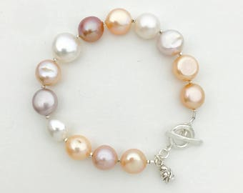 Freshwater Pearl Bracelet. Sterling silver, Real Pearls, Natural Colored Pearls, Thai Hill Tribe Silver