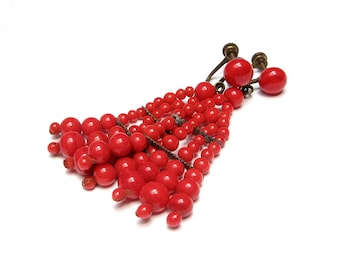 Long Earrings Red Jewelry Art Deco Earrings 1930s Earrings Dangle Earrings Flapper Glass Bead Jewelry Red Earrings Chandelier Cherry