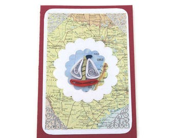 Sale Vintage Map Atlas Card,Paper Quilling Boat Card, Paper Quilled Red Boat, Male Birthday, Fisherman card, USA, Houston, Dallas,