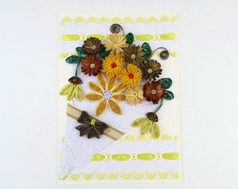 Free Shipping- Paper Quilling Card- Paper Fringed Yellow- Gold Flowers- Birthday-Thinking of You-Gardener Lover-Florist Paper Doily Bouquet-