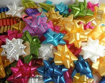 Vintage Gift Bows and Ribbon lot of 73 NOS 1960s Fancy Package Decoration Bows Vintage Christmas Vintage Birthday Vintage Crafts Movie Prop