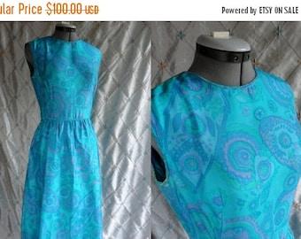ON SALE 60s Dress // Vintage 1960s Aqua Paisley Silk Party Dress Size M