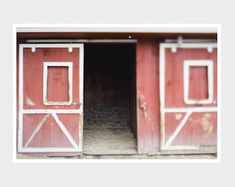 farmhouse barn doors print, rustic kitchen decor, red barn photo, barn photography, country decor, whimsical barn print, rustic barn print