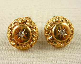 Antique Victorian 14K Gold Repousse Engraved Diamond Earrings