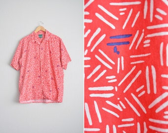 Size XL // PATTERNED SHIRT // Red & White - Short Sleeve - Button-Up - Print - Fun - Casual - Izod - Vintage '90s.