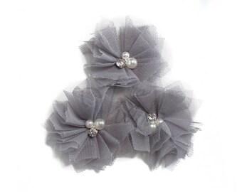 "Gray : 2"" Tulle Pearl Rhinestone x 3   Craft Flower for Headband DIY Kits   Girls Accessories Baby Showers"