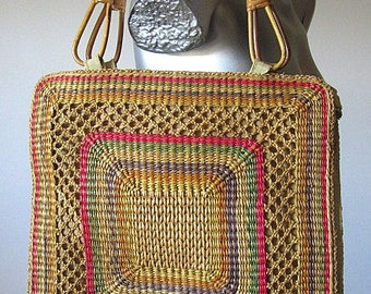 Vintage 70s Colored Braided Woven Grass Square Bag with Wicker Double Handles