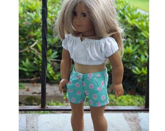 18 inch Doll Clothes - Girl Doll Clothes - Peasant Cropped Top - Shorts