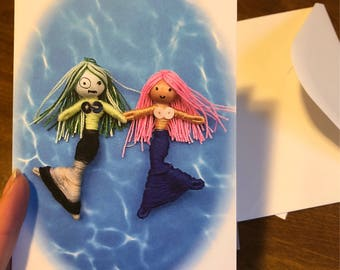 Two Friendship mermaid greeting cards with envelopes