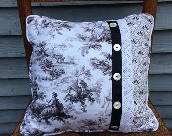 Shabby Chic pillow, Waverly Toile Linen  fabric pillow with Waverly Damask print and Vintage Buttons, Vintage Lace.
