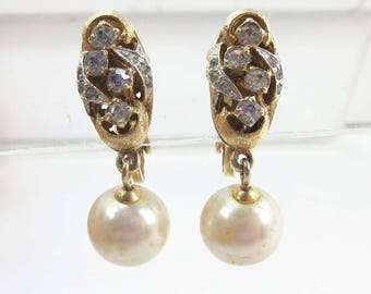 Vendome Earrings Gold Rhinestones Pearls Adjustable Clip Ons 9215