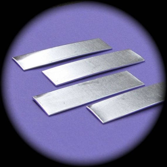 "12 Blanks 1/2"" x 2"" Tumble Polished Rectangles 14 Gauge Pure Food Safe Aluminum - 12 Blanks"