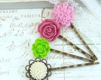Flower Hair Pins Bobby Pin Set Floral Hair Pins Hair Pin Set Flower Bobby Pins Romantic Floral Bobby Pins