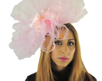 Baby Pink Fascinator Hat for Weddings, Races, **SAMPLE SALE