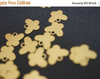 SUMMER SALE Raw Brass Butterfly Name Tag or Charm Pendants - 30pcs