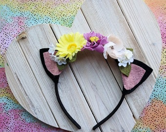 Cat Ear Headband with Flowers | Photo prop, costume, birthday, accessories