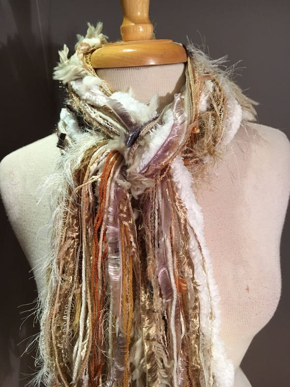 Handmade Art Scarf, Fringie in Snow Bunny, Boho Fringe yarn Scarf, Knotted white and ivory scarf, ribbon scarves, white fur scarves, golden