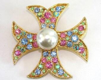 Maltese Cross Brooch Pin Pastel Rhinestones Faux Pearl Gorgeous