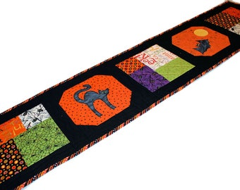 Cat and Bat Halloween Table Runner Quilt, Black and Orange Applique Halloween Quilted Table Runner, Quiltsy Handmade Patchwork Quilt