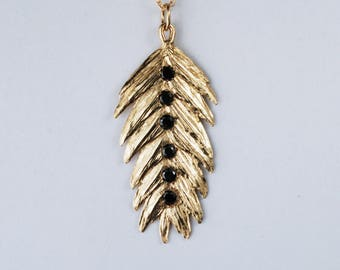 Solid Gold & Black Diamond Northern Sea Oat Necklace-READY TO SHIP