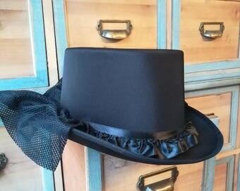Black Top Hat - Black Gothic Hat Tophat black Hat size 57 or 59