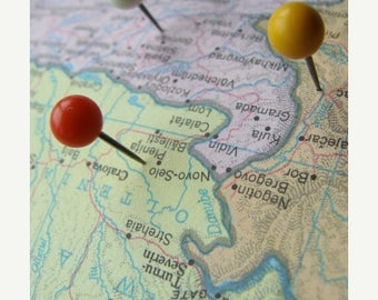ONSALE Vintage Map Pins Tacks Mid Century Modern The Places I Have Been