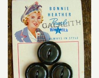 ONSALE Antique 1940s Button set on Original Card Bonnie Heather Pearls
