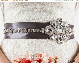 SALE 20% Bridal sash, Rhinestone Beaded Sash, Wedding Sash, Crystal Sash, Bridal Accessories, Art Deco Bridal Sash