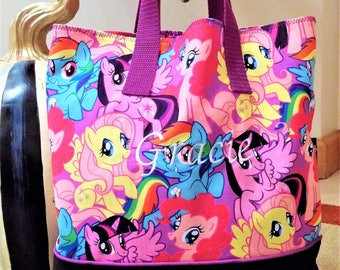 My Little Pony and Friends Child Tote / School Tote / Book Travel Bag / Overnight Bag / Embroidered with Childs name