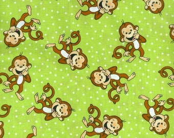 Laughing Monkeys Cotton Fabric by the yard and by the half yard