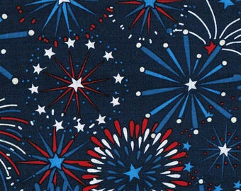 Fireworks on Navy Patriotic Cotton Fabric by the half yard