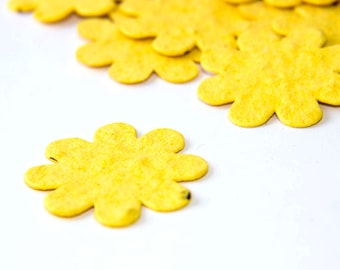 200 Bright Yellow Seed Paper Flower Confetti diy wedding favors, eco place cards, save the date cards creative invitations by Nature Favors
