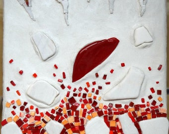 Red and white mosaic table ice and fire