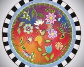 """WOOD LAZY SUSAN, Whimsical lazy susan, Ready to Ship, 20"""" diameter lazy susan, Whimsical flowers, farmhouse lazy susan, hand painted, funky"""