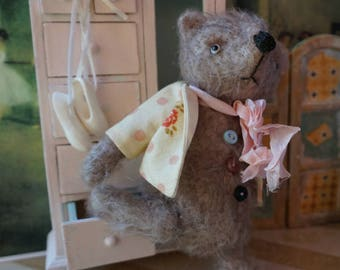 "OOAK Artist Bear - ORLO - 5"" Tall Soft Brown German Mohair Collectible Teddy Bear"