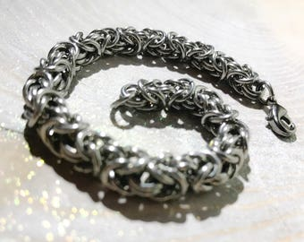 Silver Stainless Steel Unisex Byzantine Chainmaille Bracelet Anklet