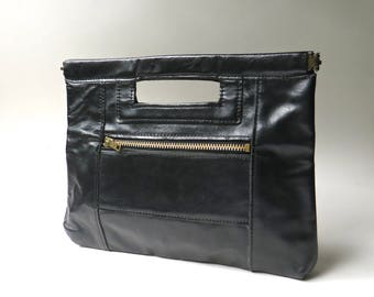 70s vintage Boho Narrow Black Leather Clutch with Handle