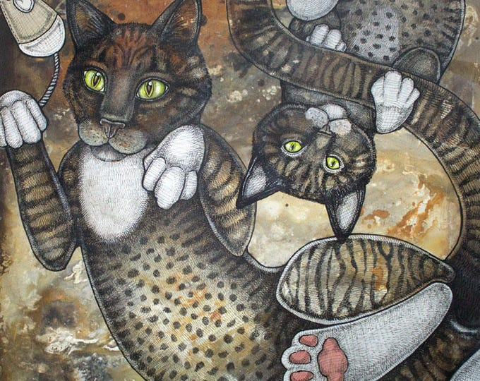 Featured listing image: Original Cat and Kitten Artwork by Lynnette Shelley