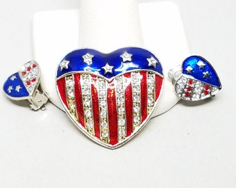Red White Blue Heart Pin and Earrings Patriotic Flag 4th July