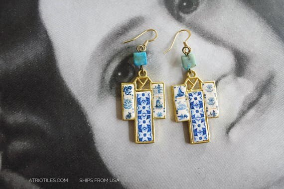 Earrings Japan Kimono Portugal Tiles Delft Azulejos Japanese Porcelain REVERSIBLE Turquoise beads and Surgical Steel Ear wire Ships from USA