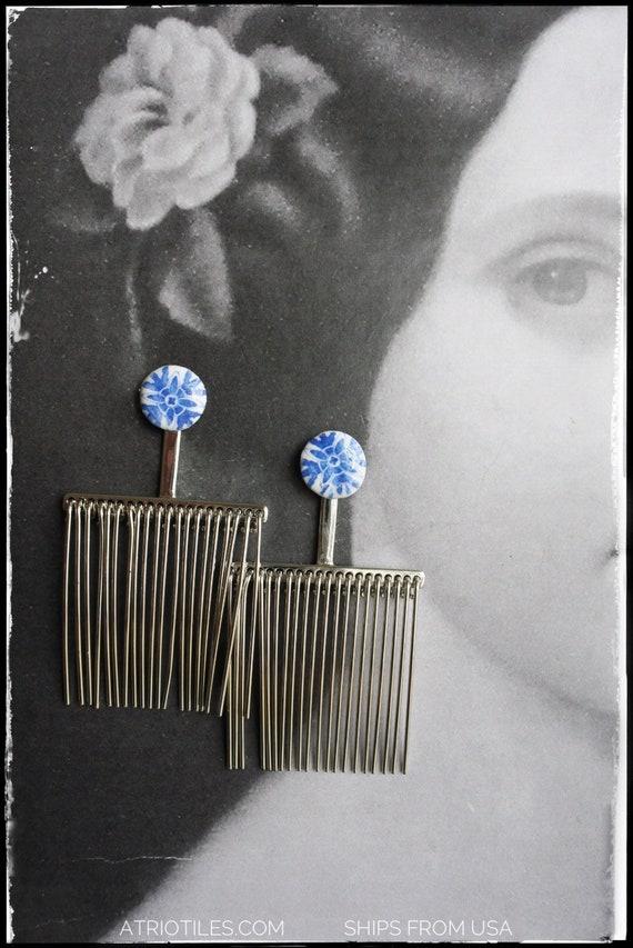 Comb Earrings Portugal Tile Fringe Tassel Post Stud Azulejo Dangle Portuguese Antique Porto Blue - - Gift Box -  SHIPS from USA