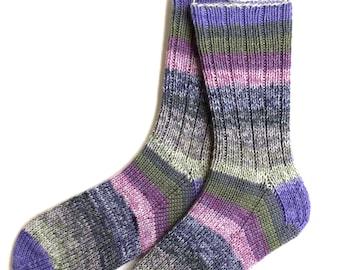 Handknit Socks for Women, Teen Girls, Ladies Socks, merino wool socks, gift for women, knitted socks, olive lavender socks, striped socks
