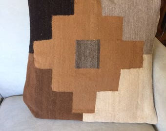 Brown Square Handwoven Throw Pillow, Geometic Pattern