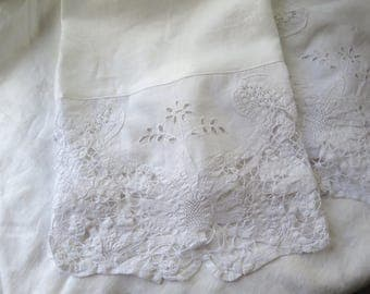 """White Linen Hand Towel with Tape Lace and Eyelet Embroidery Up Cycled Vintage Linens Large Size Guest Towel 41"""" x 24.5"""""""
