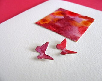Mini Watercolour Painting with Butterflies on Creamy Ivory Card / Red, Burgundy, Purple, Lilac, Orange / A2 Size / Ready to Ship