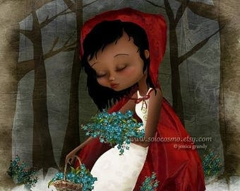 "50% Off SALE Fine Art Print ""Red Riding Hood"" 11x17 or 13x19 - Lowbrow Art - African American Girl in Woodland Fairy Tale Fantasy - Bluebell"