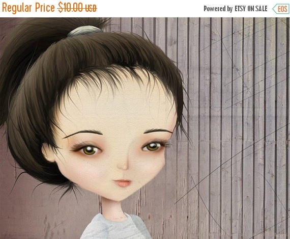 """50% Off SALE Girl Fencing 5x7 Fine Art Print """"The Fencer"""" Premium Giclee Print of Original Work - Lowbrow Art Purple and Lavender"""