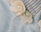 Shell Blossom Hair Comb with Rare Abalone and Pearls