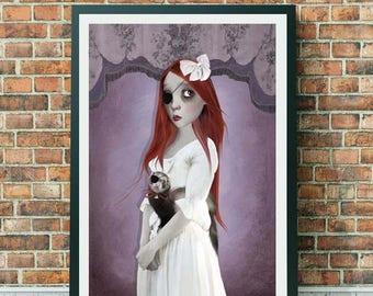 Ferret Art Print - Ferret Print - Big Eyed Girl - Big Eyed Art - Girl And Ferret - A3 Art Print - Two Of A Kind
